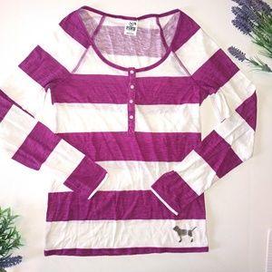 PINK Victoria's Secret Striped Top Size Medium